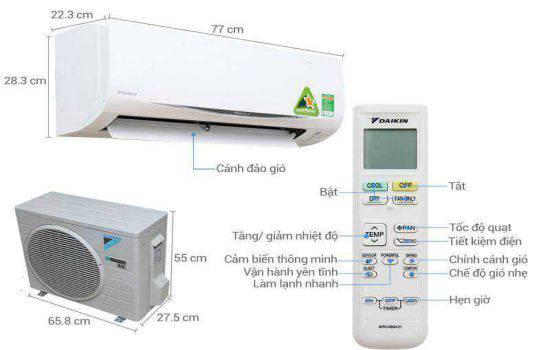 Kích thước máy lạnh
