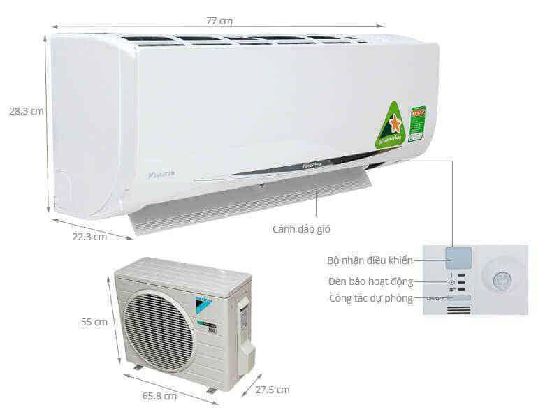 Kích thước máy lạnh 1,5HP