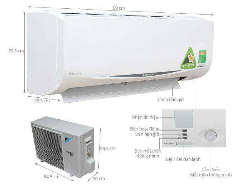 Kích thước máy lạnh 2HP